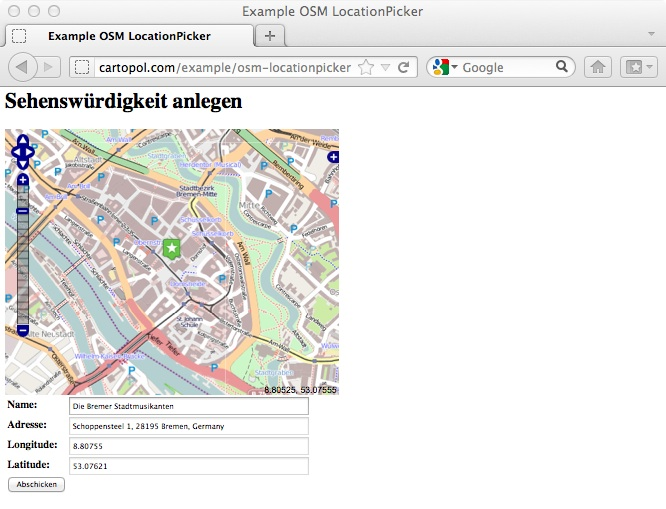 Location Picker auf Basis von OpenStreetMap